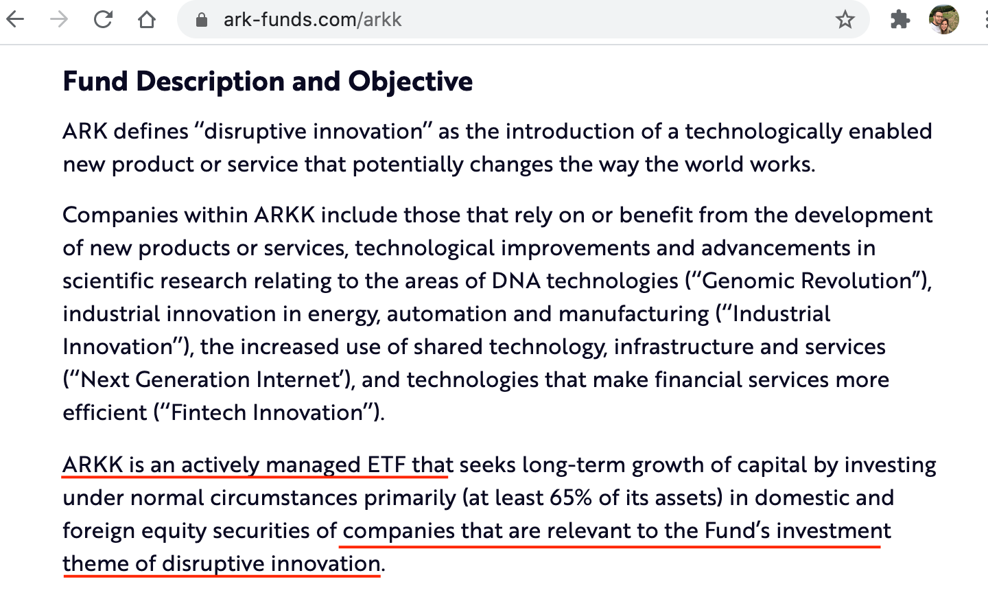 ARKK is an actively managed thematic ETF